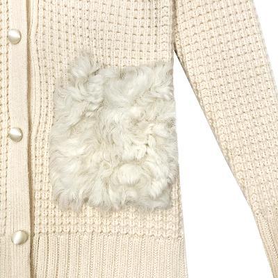 fur pocket knit cardigan ivory